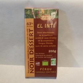 CHOCOLAT NOIR 63% DE CACAO 200G
